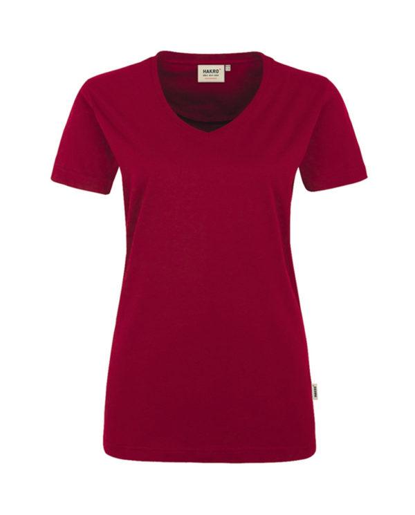 Arbeitskleidung T-Shirt Hakro Performance weinrot für Damen Frontansicht