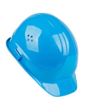Schutzhelm blau Seitenansicht