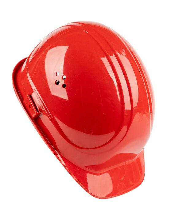 Schutzhelm rot Seitenansicht
